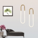 Oval Ring Hanging Pendant Lights Designers Lighting 1 Light/2 Light Chandelier in Gold Finish