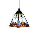 Pyramid Shaped Shade Hanging  Pendant with Tiffany-Style Stained Glass Shade in Multicolored