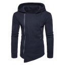 Unique Side Zip Up Asymmetrical Hem Long Sleeve Fashion Plain Drawstring Hoodie