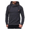 Hot Popular Basic Solid Long Sleeve Regular Fitted Sports Drawstring Hoodie for Guys