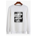 Stylish Letter WHY DO I KEEP LOVING YOU Printed Crew Neck Long Sleeve Cotton Pullover Sweatshirt