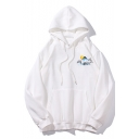 Long Sleeve Mountain Printed Casual Unisex Relaxed Drawstring Hoodie