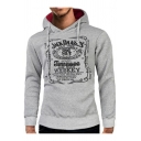 Men's New Fashion Letter Printed Long Sleeve Sports Regular Fitted Drawstring Hoodie