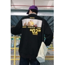 Casual Loose Fashion Trendy Letter Figure Printed Long Sleeve Crewneck Relaxed Sweatshirt