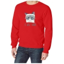 Men's Casual Crew Neck Long Sleeve Letter Cartoon Cat Printed Regular Fitted Sweatshirt