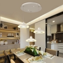 Acrylic Dome LED Pendant Ceiling Light Modern Style 3-Light Hanging Fixture in White