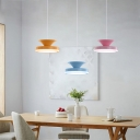 Multi-color Round LED Island Pendants Nordic Macaron Style 3 Lights Hanging Lamp for Kids