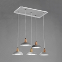 Nordic Style Barn Shade Pendant Lights Wooden 5 Lights Lamp Fixture in Gray for Kitchen Cafe
