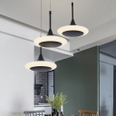 Matte Black Round Shade Suspension Light Contemporary Acrylic 3 Pendant Lamp for Restaurant