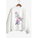Popular Unique Long Sleeve Mock Neck Floral Printed White Sweatshirt