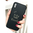Stylish Letter KING QUEEN Crown Printed Soft Basic iPhone Case