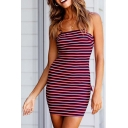 Trendy Burgundy Striped Printed Cut-Out Bow Tied Back Mini Bodycon Slip Dress