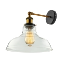Industrial 1 Light Barn Wall Light in Clear Glass for Foyer Backyard Farmhouse