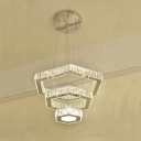 Crystal Hexagon Chandelier Light Modern Luxury Art Deco LED Lighting Fixture in Second Gear