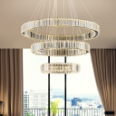 Crystal 3 Tiers LED Chandelier Modernism Lighting Fixture in Warm/White for Exhibition Hall