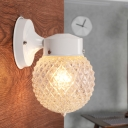 1 Head Globe Wall Sconce Modern Fashion Prismatic Glass Sconce Lighting in White
