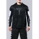 Trendy Logo Print Outdoor Athletic Quick Dry Sleeveless Black Lightweight Hoodie