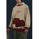 Men's Retro Cool Chinese Character CAN'T RESIST Letter Print Colorblock Pocket Patched Oversized Hoodie