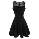 Hot Popular Mesh-Insert Round Neck Sleeveless Plain Mini A-Line Dress