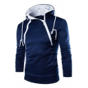 Fashion Sloping Double Half-Zip Embellished Long Sleeve Men's Fitted Drawstring Hoodie