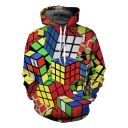 Men's Fashion 3D Magic Cube Printed Loose Leisure Pullover Red Hoodie