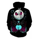Black 3D Halloween Skull Jack Printed Black Loose Fitted Unisex Hoodie