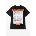 Cool Letter CAUTION Patched Back YOUTH MONEY Letter Printed Round Neck Casual Cotton T-Shirt for Guys