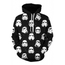 Trendy All Over Star Wars Figure Print Long Sleeve Black Pullover Drawstring Hoodie