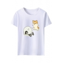 Men's Basic Round Neck Short Sleeve Cute Cartoon Dog Print Loose T-Shirt