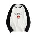 Men's Awesome Letter HAEVARD UNIVERSITY Logo Print Round Neck Colorblock Long Sleeve Cotton T-Shirt