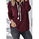 Basic Simple Plain Drawstring Hooded Long Sleeve Rib Knitted T-Shirt