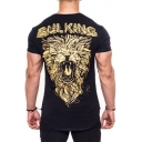 Men's Cool Letter BUL KING Lion Printed Training Fitness Round Hem Fitted Cotton T-Shirt