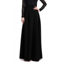 Women's Basic Simple Plain High-Rise Maxi Pleated Skirt
