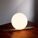 Brass Finish Ball Desk Light Designers Style Frosted Glass 1 Light Table Light for Bedroom