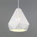White Finish Diamond Pendant Light Contemporary Iron 1 Bulb Suspended Lamp for Bedroom