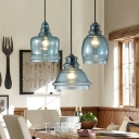 Geometric Pendant Light Designers Style Glass Single Head Drop Light in Blue for Kitchen