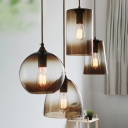 Brown Geometric Hanging Light Designers Style Faded Glass 1 Bulb Accent Pendant Lamp