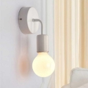 Modern Design Armed Wall Light Metallic 1 Head Sconce Light in White for Staircase