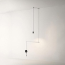 Metal Linear Suspended Lamp Designers Style 1/3/9 Light Lighting Fixture in Black