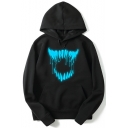 Trendy Luminous Big Mouth Printed Long Sleeve Black Hoodie for Men