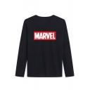 Trendy Letter MARVEL Print Basic Casual Cotton Long Sleeve T-Shirt for Men