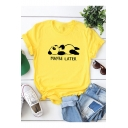 Popular Letter MAYBE LATER Cartoon Panda Print Loose Fit Round Neck Cotton Tee