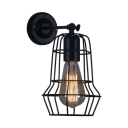 Geometric Wall Sconce with Metal Frame Retro Style 1 Bulb Decorative Wall Mount Light in Black