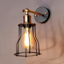 Brass Finish Metal Frame Wall Sconce Retro Style 1 Bulb Small Wall Light Fixture for Foyer