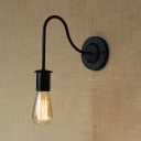Open Bulb Wall Lighting with Gooseneck Industrial Iron Single Light Ambient Wall Sconce in Black
