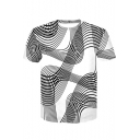 Unique Awesome 3D Music Line Printed Short Sleeve Black T-Shirt