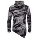Men's Streetwear Fashion Printed Heap Collar Irregular Widen Hem Long Sleeve Fitted T-Shirt