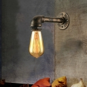 Old Bronze  Industrial 1 Light LED Wall Sconce in Pipe Design