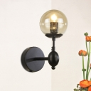 Cognac Glass Ball Wall Mount Light Simplicity Modern Single Head Wall Light in Black Finish