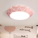 Macaron Nordic Bowl Ceiling Light Children Bedroom Acrylic LED Flush Light in Green/Pink/Yellow